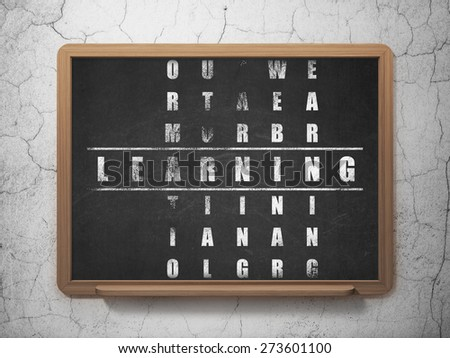 Education concept: Painted White word Learning in solving Crossword Puzzle on School Board background, 3d render - stock photo