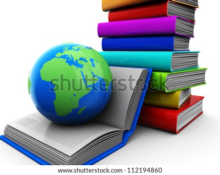 Education concept, pile of color books with globe - stock photo