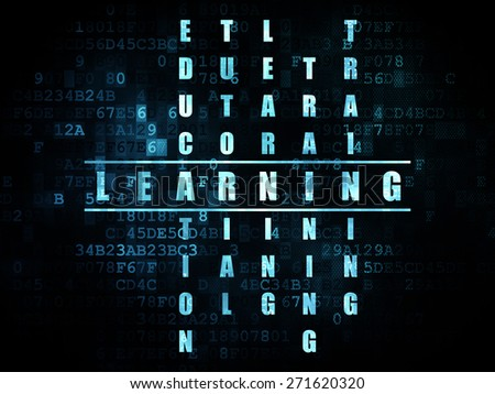 Education concept: Pixelated blue word Learning in solving Crossword Puzzle on Digital background, 3d render - stock photo