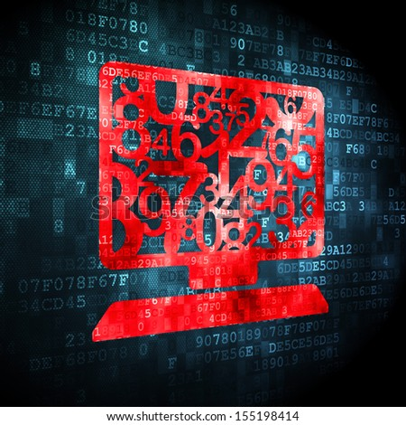 Education concept: pixelated Computer Pc icon on digital background, 3d render - stock photo