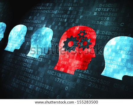 Education concept: pixelated Head Whis Gears icon on digital background, 3d render - stock photo