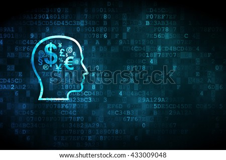 Education concept: pixelated Head With Finance Symbol icon on digital background, empty copyspace for card, text, advertising