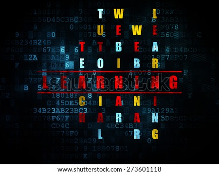 Education concept: Pixelated red word Learning in solving Crossword Puzzle on Digital background, 3d render - stock photo
