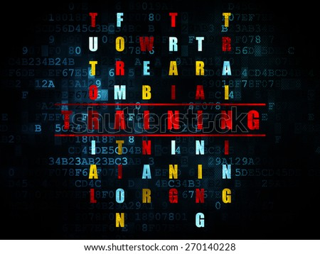 Education concept: Pixelated red word Training in solving Crossword Puzzle on Digital background, 3d render - stock photo