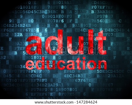 Education concept: pixelated words Adult Education on digital background, 3d render - stock photo