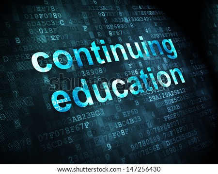 Education concept: pixelated words Continuing Education on digital background, 3d render - stock photo