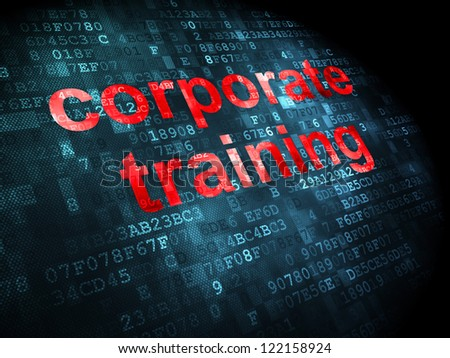 Education concept: pixelated words corporate training on digital background, 3d render - stock photo