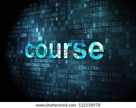 Education concept: pixelated words course on digital background, 3d render - stock photo