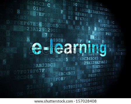 Education concept: pixelated words E-learning on digital background, 3d render - stock photo