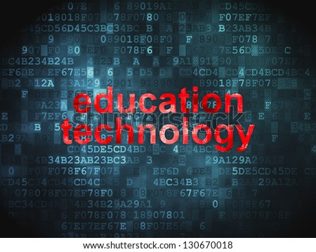 Education concept: pixelated words Education Technology on digital background, 3d render - stock photo