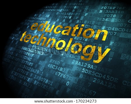 Education concept: pixelated words Education Technology on digital background, 3d render