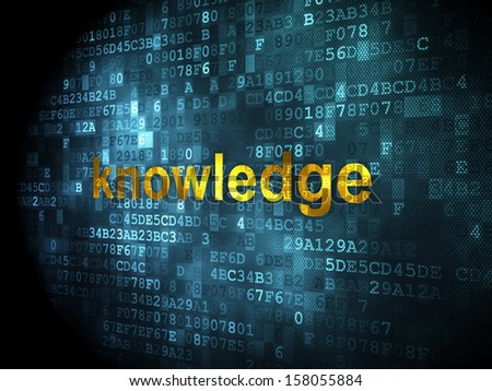 Education concept: pixelated words Knowledge on digital background, 3d render