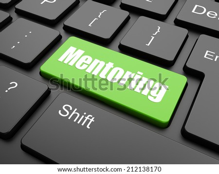 Education concept: pixelated words Mentoring on button with Arrow cursor on digital computer screen background, selected focus 3d render  - stock photo