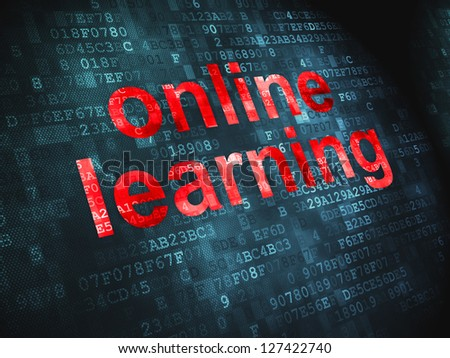 Education concept: pixelated words Online Learning on digital background, 3d render - stock photo