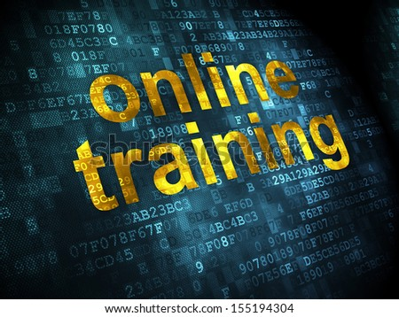 Education concept: pixelated words Online Training on digital background, 3d render - stock photo