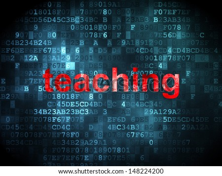 Education concept: pixelated words Teaching on digital background, 3d render - stock photo
