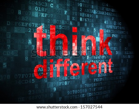Education concept: pixelated words Think Different on digital background, 3d render - stock photo