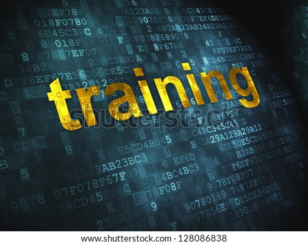 Education concept: pixelated words Training on digital background, 3d render - stock photo