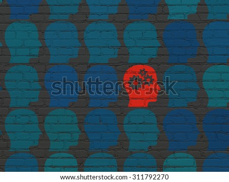 Education concept: rows of Painted blue head icons around red head with gears icon on Black Brick wall background