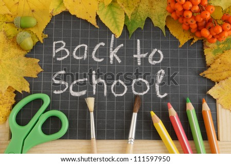 Education concept, school board, paintbrushes, pencils, leaves - stock photo