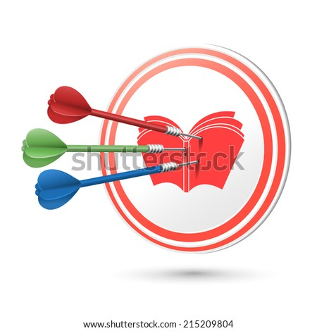 education concept target with darts hitting on it over white - stock photo