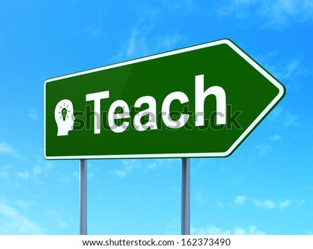 Education concept: Teach and Head With Light Bulb icon on green road (highway) sign, clear blue sky background, 3d render