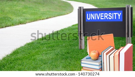 Education concept: the way to go to university with book - stock photo