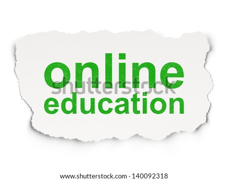 Education concept: torn paper with words Online Education on Paper background, 3d render - stock photo