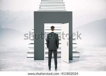 Education concept with businessman standing in front of open book door leading to ladder. 3D Rendering
