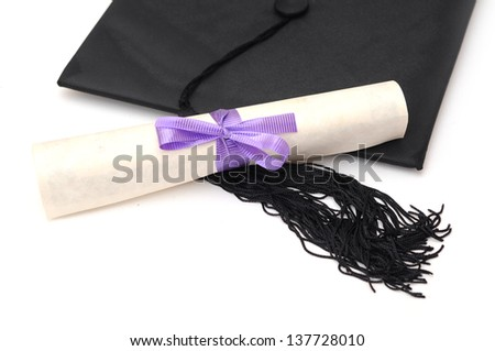 education concept with cap and diploma
