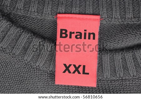 education concept with the word brain on a fashion label or tag and copyspace