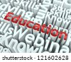 "Education Concept. Word ""Education"" of Red Color Located on other Gray Words. - stock photo"