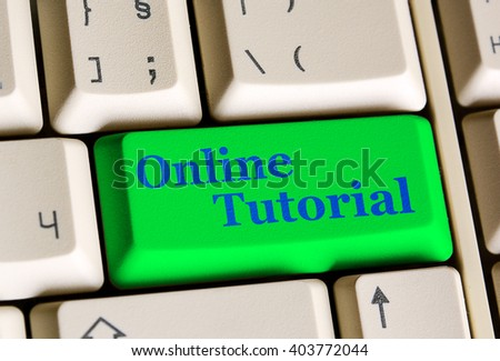 Education concept: Written word Online Tutorial on green  keyboard button. - stock photo