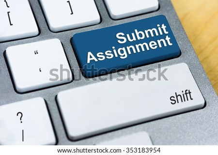 Education concept: Written word Submit Assignment on blue keyboard button. - stock photo