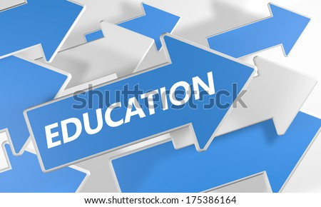 Education 3d render concept with blue and white arrows flying over a white background. - stock photo