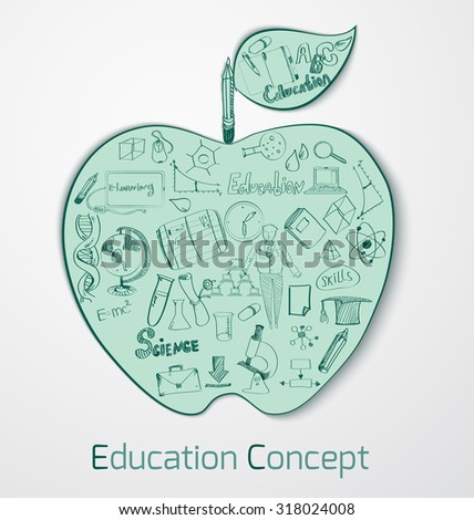 Education doodle concept with science and knowledge symbols in apple shape  illustration - stock photo