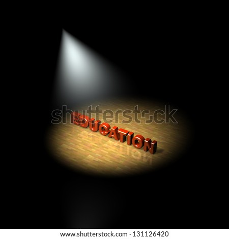 Education focus, spotlight on education. 3D - stock photo