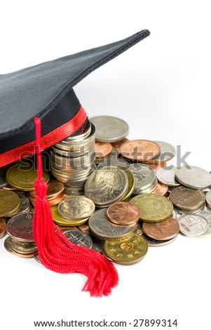 Education fund -- Graduation cap & coins. - stock photo