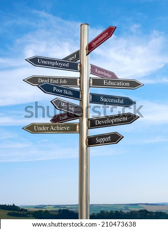 Education Going in the right direction, Signpost concept. - stock photo