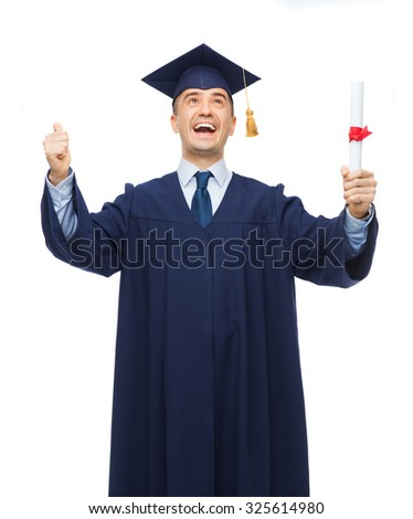 education, graduation and people concept - smiling adult student in mortarboard with diploma showing thumbs up and laughing