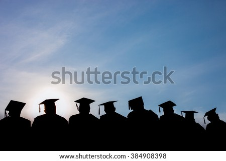 Education Graduation with blue sky - stock photo