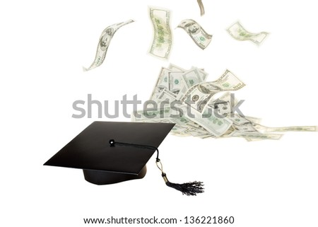 Education helps to make money. Money will hear and to cap off the graduate - stock photo