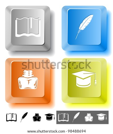 Education icon set. Graduation cap, book, inkstand, feather. Computer keys. Raster illustration. - stock photo