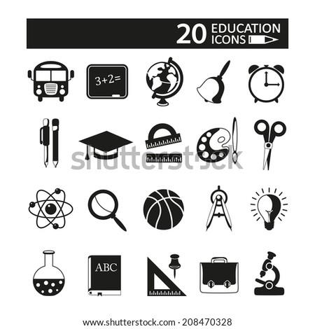Education icons set. - stock photo