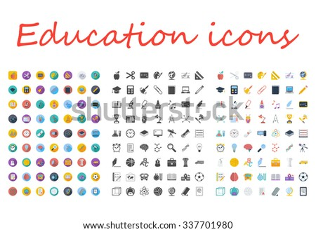 Education icons set. Flat related different styles icons set for web and mobile applications. It can be used as - logo, pictogram, icon, infographic element. Illustration. - stock photo