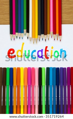 Education in felt tip with pencil crayons, educational design for teaching aids. - stock photo