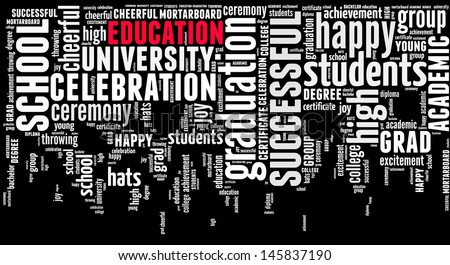 Education info-text graphic and arrangement concept on white background (word cloud) - stock photo