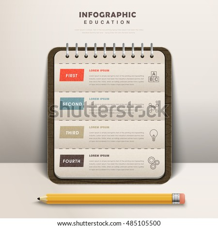 Education infographic design, an elegant notebook with a yellow pencil