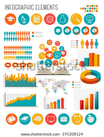 Education infographics. Raster version. - stock photo