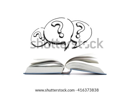 education, information and literature concept - open book and question marks in text bubbles - stock photo